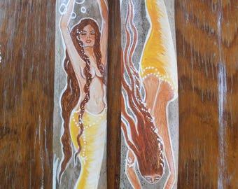 Pair of Hand Painted Fantasy Mermaids on drift wood Bamboo  -  Afro-Caribbean Mermaids