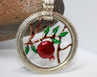 Pomegranate Silver Pendant Enamel  Necklace gift for Her Silver Sterling 925