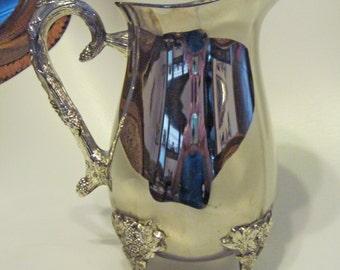 Water Pitcher Grape Vine Silver Plate