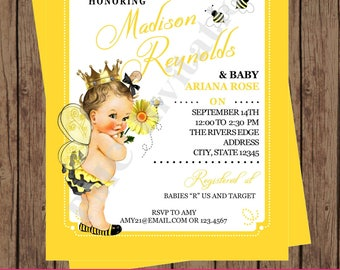 Custom Printed Shabby Chic - Antique - Vintage - Bumble Bee Baby Shower Invitations - You pick hair/skin color 1.00 each with envelope