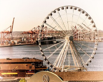 Seattle Great Wheel & Waterfont vintage like Image, Digitally Painted, sizes 5x7 to 13x19,
