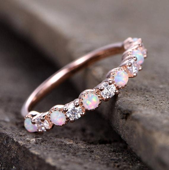 Opal Wedding RingOpal ringOpal Wedding BandRose Gold