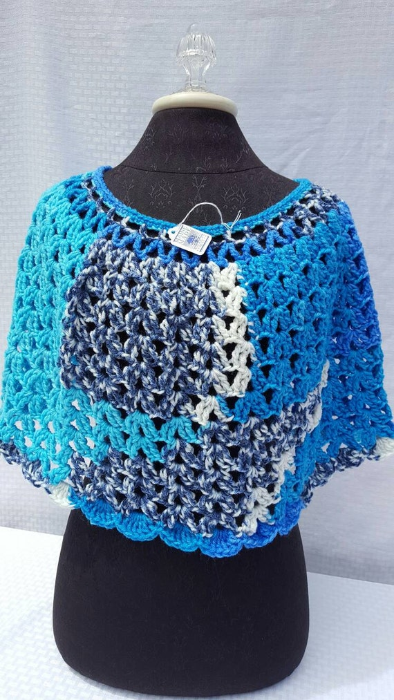 Crocheted gray, white and blue caplet READY TO SHIP