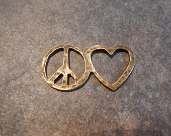 4 PEACE LOVE Bracelet Connectors Love Joined with Peace Bronze Tone Jewelry Supplies 40x21mm