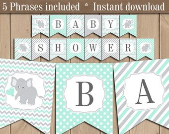 Mint Green Elephant Clipart Baby Shower Mint And Grey Nursery