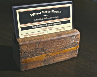 Rustic Business Card Holder for Office or Desk by Wheat State Rustic