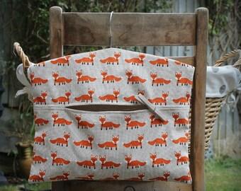 Fox Clothespin Bag / Peg Bag
