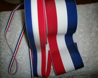 Vintage red/white/blue striped millinery ribbon