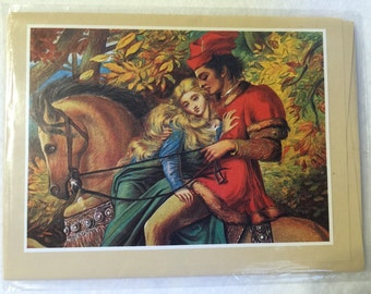 Vintage Sealed Greeting Card with Envelope, Illustration Plate From Classic Literature
