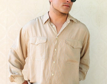 "Vintage mens long sleeved western shirt - Light brown on cream . . . ""Like"" our fb page for 10% discount"