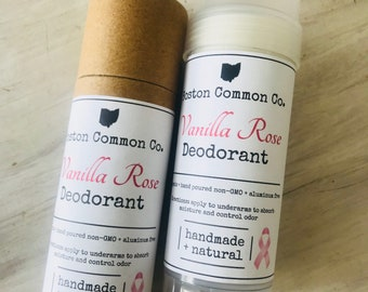 Organic all natural hand poured Vanilla Rose deodorant / natural antiperspirant / deodorant / organic deodorant / 2 oz twist up bottle