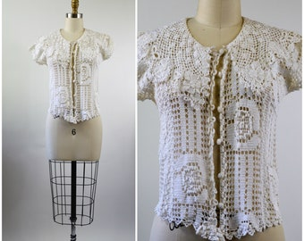 Vintage White Crochet Top Open Sheer Weave Size Small Cape Collar Short Sleeve Blouse Spring and Summer