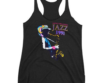 1991 New Orleans Black Jazz Retro Nostalgic Women's Racerback Tank