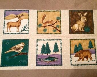 Wildlife Woodland Animals Brushed Cotton Fabric Panel