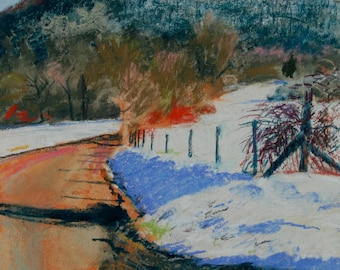 Original Pastel Painting, Berkshire Landscape, Rural Road, Mountain View, Williamstown by Robert Lafond