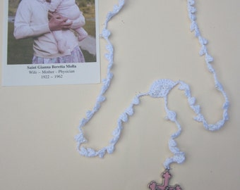 White (#1) rosary with white beads and Pink Crucifix
