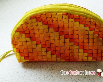 "small ""dumpling"" pouch - yellow & orange squares"