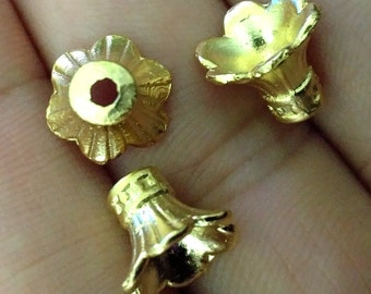 4 pcs 11x9 mm gold plated brass cone spacer holder finding charm pendant 367