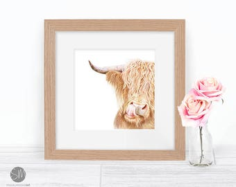 Hamish the Highland Cow Print Framed Artwork Picture