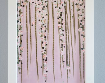 Abstract Floral Garden Painting: Pink, Green and White Acyrlic on Canvas Paper