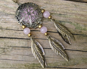 Perfume Locket Pink Quartz Dream Catcher Pendant, Gemstone ethnic dreamcatcher scent jewelry, Essential oil diffuser necklace, Aromatherapy