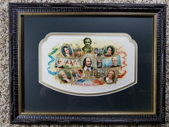 Framed HGR Embossed Non Plus Ultra Famous Poets Antique Cigar Box Label