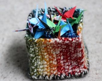 Rainbow Crochet Storage Basket