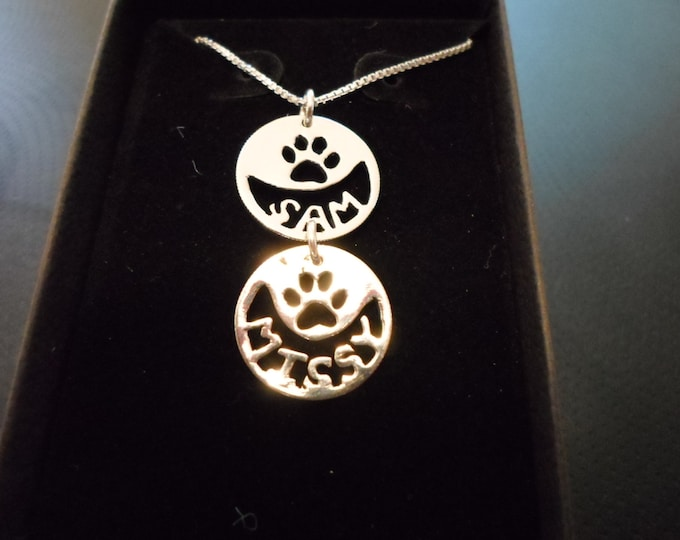 any 2 name dog paw necklace w/sterling silver chain