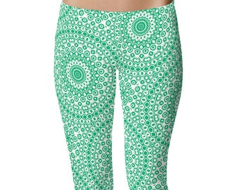 Jade Green Leggings for Women, Yoga Clothes, Green and White Printed Yoga Pants