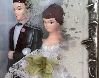 Vintage Wedding Shadowbox Bride and Groom Cake Topper Diorama