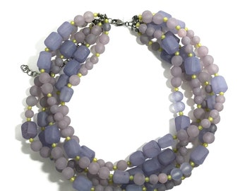 Muted Purple & Olive Frosted Beaded Statement Necklace   Vintage Lucite Sylvie Multi Strand