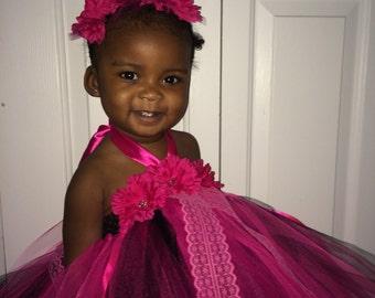 Girl-Birthday-Wedding-Christmas-Black-Pink-Tutu-Dress-0-5T-Holidays