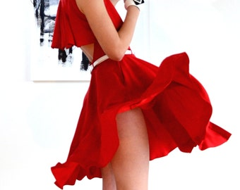Red dress, pleated back detail, circle skirt