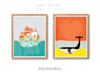 Polar Bears Art print, Whale Art Print, Nursery animal wall art, Baby nursery decor, Animal illustration, Kids room decor, Watercolor Art