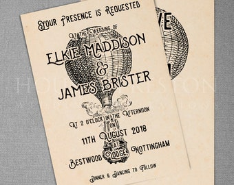 Love Is In The Air Wedding Invitations, Vintage Victorian Wedding Stationery Set
