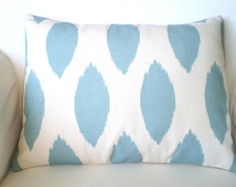 Blue Ikat Lumbar Pillow Covers, Decorative Throw Pillow, Cushion Covers, Village Blue on Natural Cream, Couch Bed, One 12 x 16 or 12 x 18