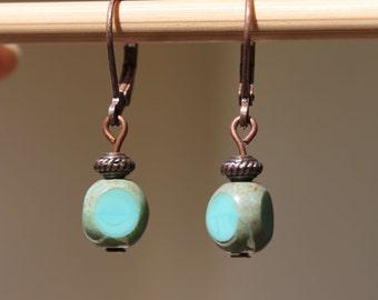 Turquoise Earrings Dangle Earrings Copper Earrings Small Earrings Birthday Gift For Her Gift for women Gift for wife