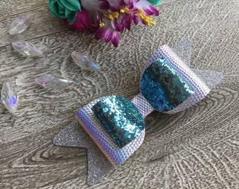 Large Silver & Blue Sparkly Glitter Hair Bow