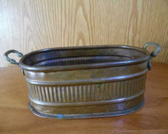 Solid Copper Planter-Container-Oblong, Made In Turkey