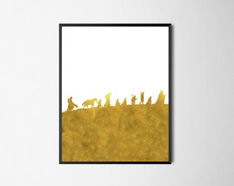 Gold Lord of The Rings Print - Fellowship of the Ring Silhouette - LOTR Printable Art - The Nine Poster - Fantasy Print