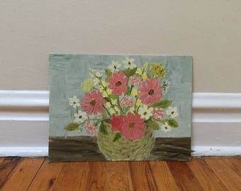 Vintage Floral Painting Folk Art Home Decor Pink Flowers Blue Pastel