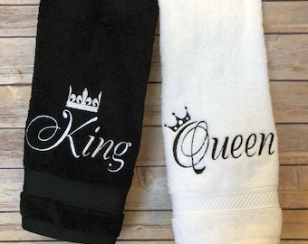 King and Queen towels, 20 colors, 6 sizes, august ave, wedding, wedding gift, his and hers, crown, royal, royalty, king, queen, bath towels
