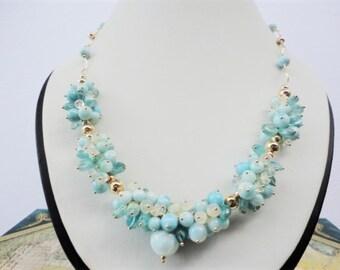AAA larimar necklace, welo opals, blue apatite beads, larimar necklace gold, cluster necklace, gold filled necklace, larimar jewelry