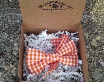 Boys Orange Gingham Bowtie
