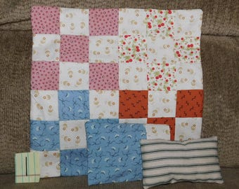 "1.  9-Patch Quilt, Pillow & Pillowcase for 8"" to 11"" dolls Perfect for Bleuette"