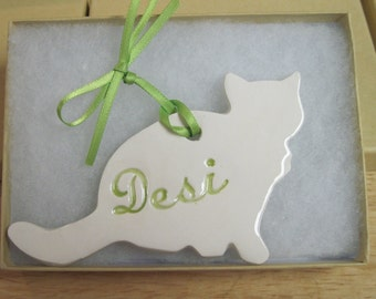 Cat Ornament Personalized 2 Shapes Available