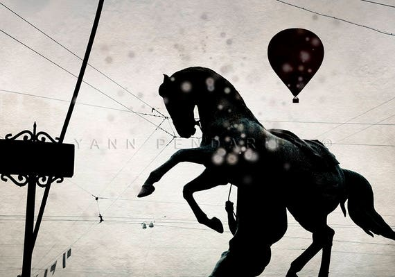 Horse, Horse Photo, Horse Photography, Animals Photography, horse art, Animal decor, hot air balloon, Animal photography, Black and white