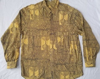 Psychedelic Paisley Black Yellow Long Sleeve Polyester Shirt - XL Mens Hippie Vintage Lines Unique
