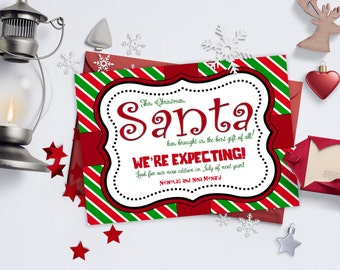 Christmas Pregnancy Announcements / Red, Green, Stripes, Present / We're Expecting / Pregnancy Reveal Idea / Digital or Printed Cards