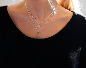 Mixed Metal Initial Necklace / Gold and Silver Layering